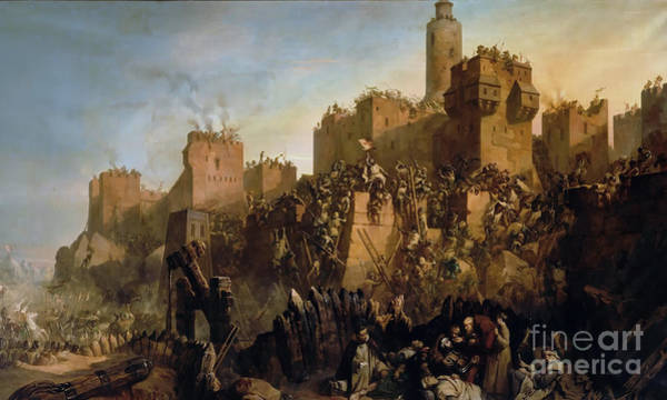 Wall Art - Painting - The Capture Of Jerusalem by Claude Jacquand