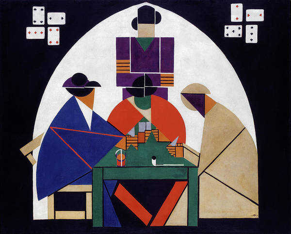 De Stijl Painting - The Cardplayers by Theo van Doesburg
