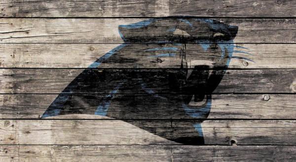 Wall Art - Mixed Media - The Carolina Panthers Wood Art by Brian Reaves