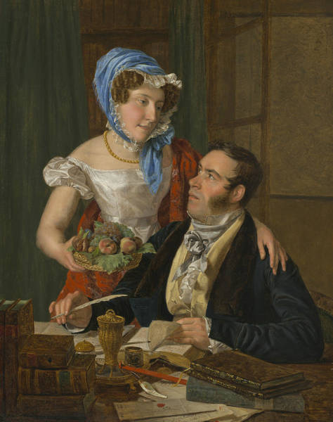 Painting - The Cartographer Professor Josef Juttner And His Wife by Ferdinand Georg Waldmuller