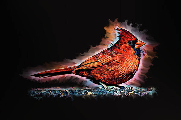 Digital Art - The Cartoon Cardinal by Artful Oasis