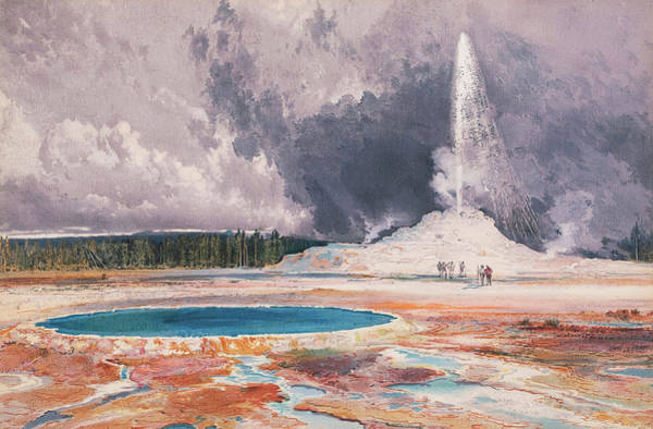 Atmospheric Painting - The Castle Geyser, Upper Geyser Basin, Yellowstone National Park by Thomas Moran
