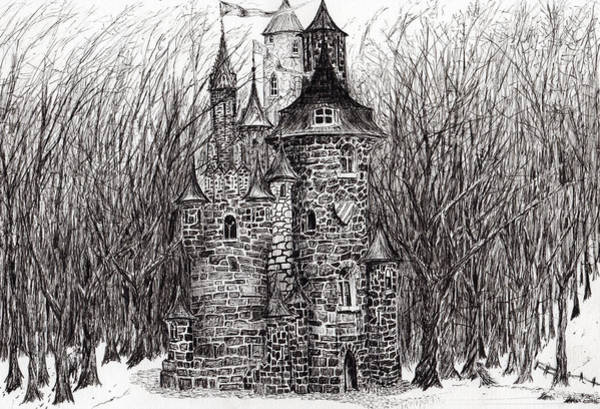 Woodland Drawing - The Castle In The Forest Of Findhorn by Vincent Alexander Booth