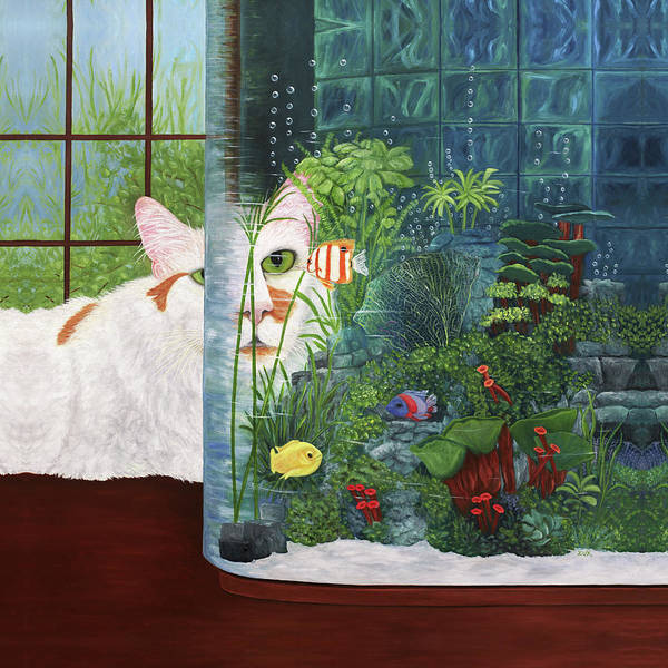 Painting - The Cat Aquatic by Karen Zuk Rosenblatt