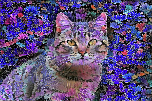 Mixed Media - The Cat Who Loved Flowers 3 by Peggy Collins