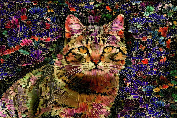 Digital Art - The Cat Who Loved Flowers by Peggy Collins
