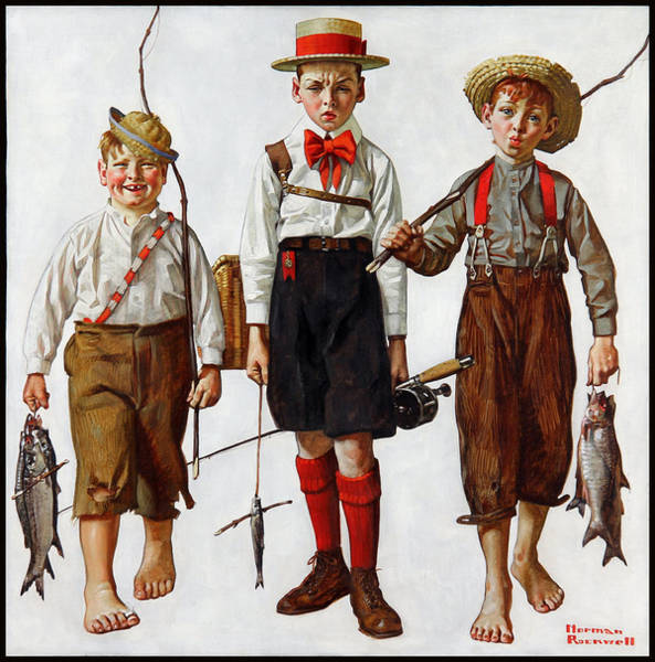 Painting - The Catch by Norman Rockwell