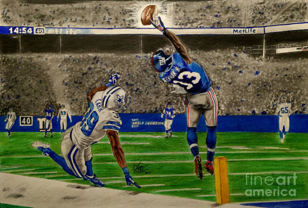 Colored Pencil Drawing Drawing - The Catch - Odell Beckham Jr. by Chris Volpe