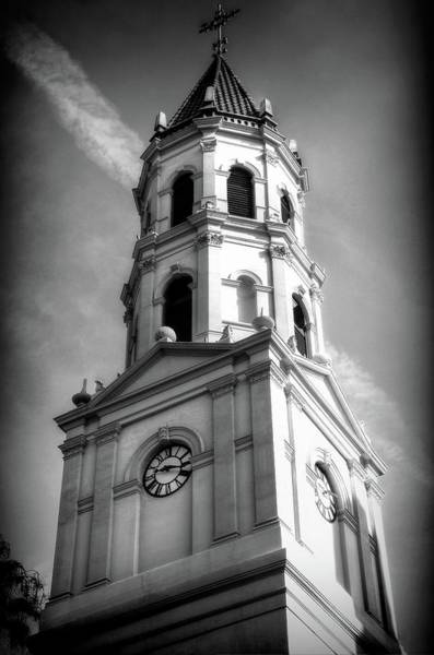 Photograph - The Cathedral Basilica Of St. Augustine Florida Black And White by Carol Montoya