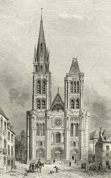 Wall Art - Drawing - The Cathedral Of St. Denis, With The by Vintage Design Pics
