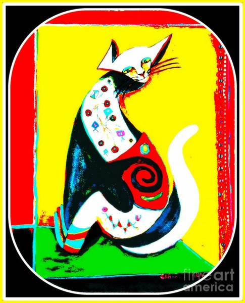 Tats Painting - The Cat's Meow by Claire Sallenger Martin