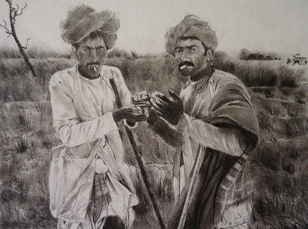 Nomad Drawing - The Cattle Rearers by Mickey Raina