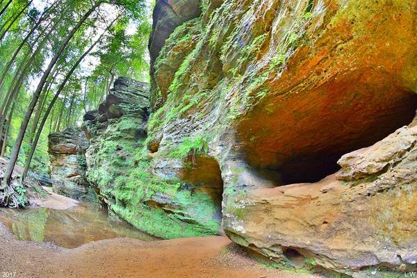 Photograph - The Caves At Old Man's Gorge Trail Hocking Hills Ohio by Lisa Wooten