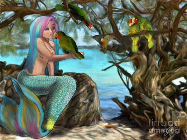 Mangroves Digital Art - The Cayman Parrots by Cayman Mermaid Bubbles