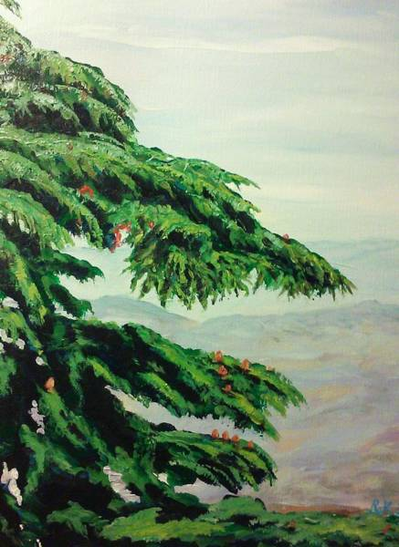 Painting - The Cedar Tree by Ray Khalife