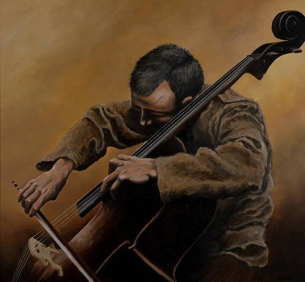 Cellist Painting - The Cellist by Caleb  Hamm