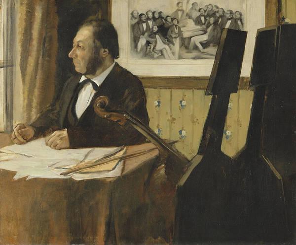 Cellist Painting - The Cellist Pilet 1868 - 1869 by Edgar Degas