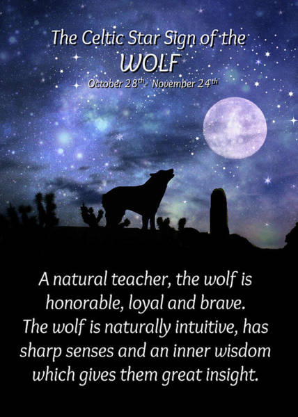 Wicca Photograph - The Celtic Zodiac Sign The Wolf, Scorpio, October by Stephanie Laird