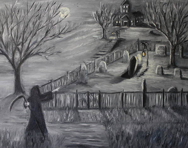 Zombie Cat Painting - The Cemetary by Daniel W Green