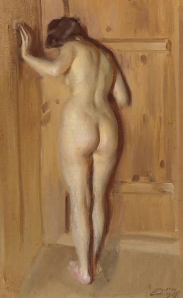 Back Door Painting - The Chamber Door by Anders Zorn