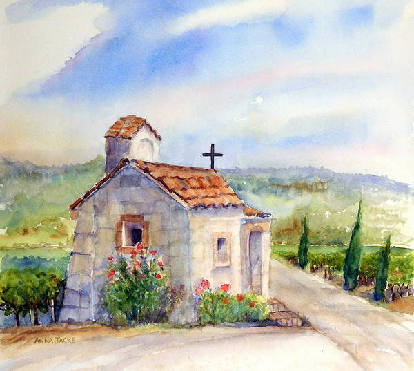 Painting - The Chapel - Castello Di Amorosa by Anna Jacke
