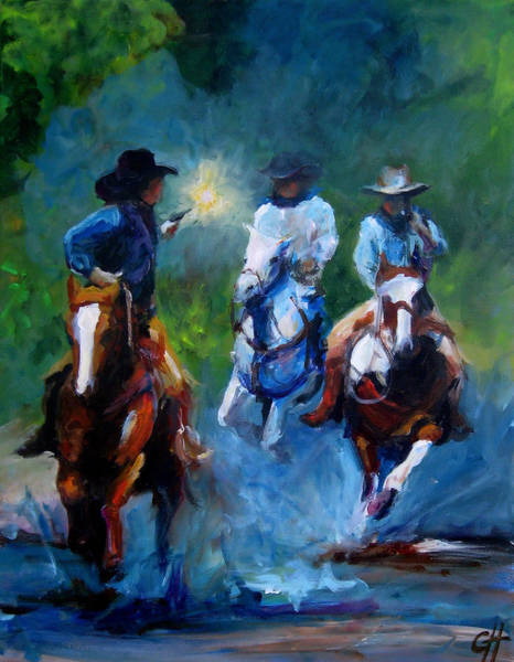 Gunfight Wall Art - Painting - The Chase by Cari Humphry