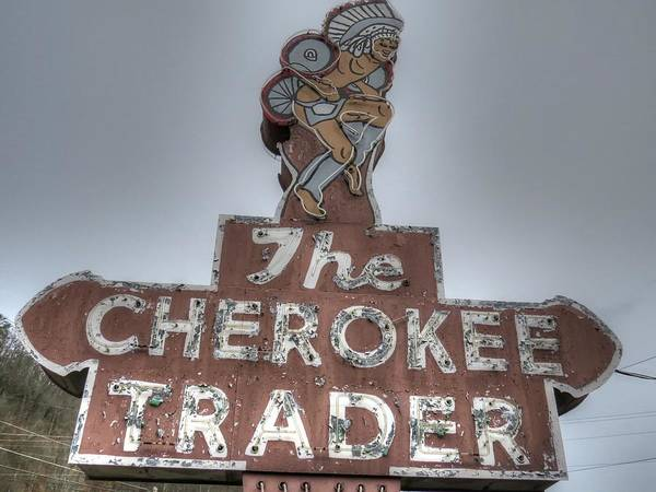 Wall Art - Photograph - The Cherokee Trader Sign Maggie Valley North Carolina by Jane Linders