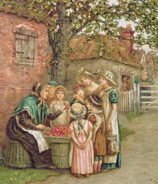 Grandma Wall Art - Painting - The Cherry Woman by Kate Greenaway