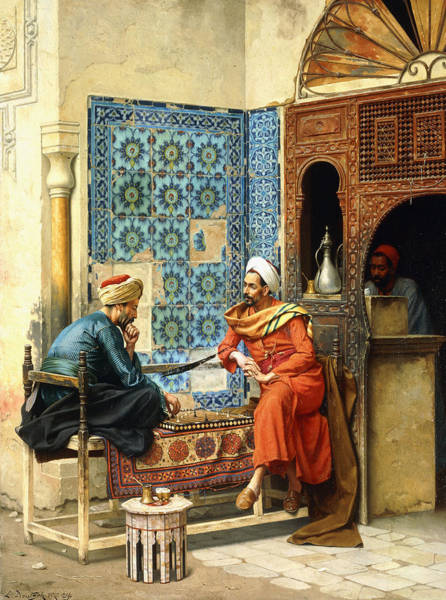 Arabians Painting - The Chess Game by Ludwig Deutsch