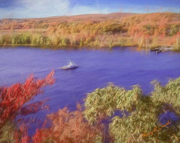 Digital Art - The Chester Hadlyme Ferry Makng Way Across The Connecticut Riv by Rusty R Smith