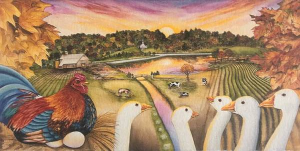 Painting - The Chicken And The Geese by William T Templeton
