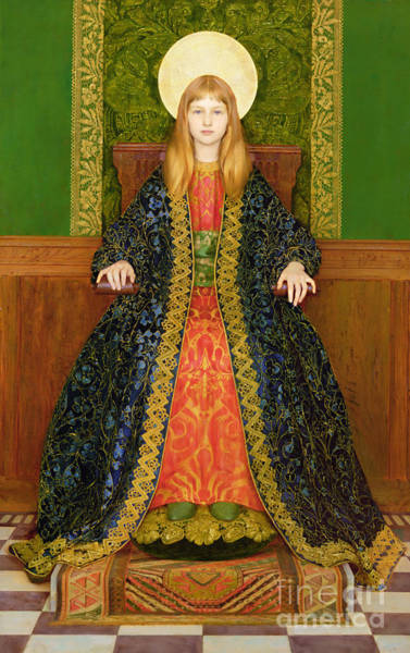 Pre-raphaelite Painting - The Child Enthroned by Thomas Cooper Gotch