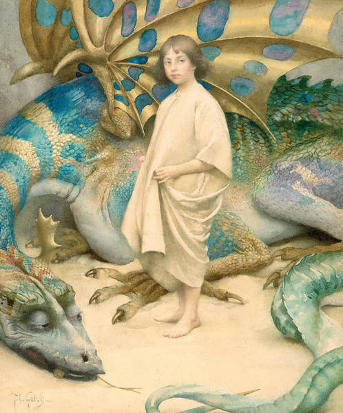 Lizard Painting - The Child In The World by Thomas Cooper Gotch