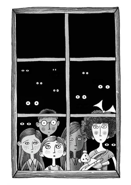 Eye Drawing - The Children In The Window by Andrew Hitchen