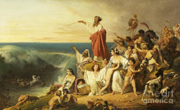 Hebrew Painting - The Children Of Israel Crossing The Red Sea by Henri-Frederic Schopin