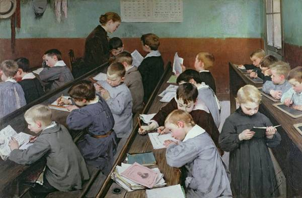 Classroom Painting - The Children's Class by Henri Jules Jean Geoffroy