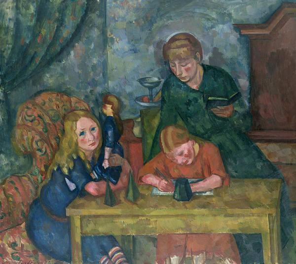 Schooling Wall Art - Painting - The Children's Parlour by Fritz Friedrichs