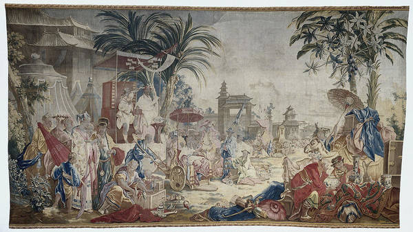Fashion Plate Painting - The Chinese Market, 1769 by Manufacture Royale De Beauvais