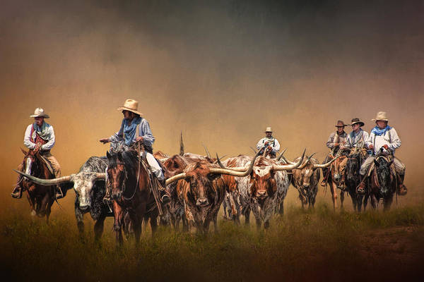 Longhorns Wall Art - Photograph - The Chisolm Trail by David and Carol Kelly