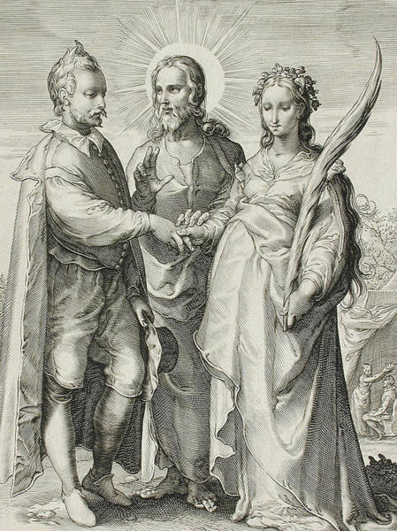 Gospel Drawing - The Christian Marriage by Jan Saenredam