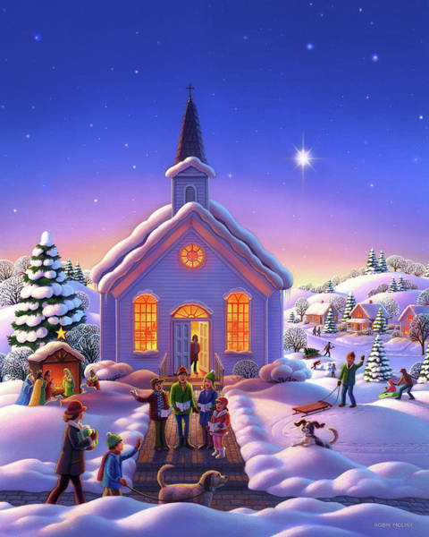 Painting - The Christmas Carolers by Robin Moline