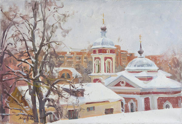Wall Art - Painting - The Christmas Evening by Victoria Kharchenko