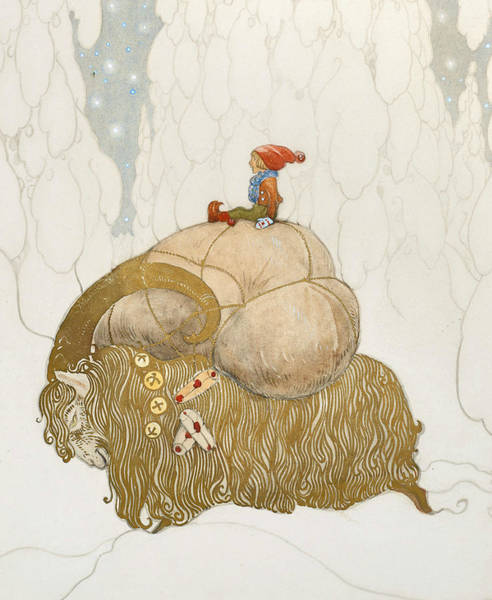 Swedish Painters Wall Art - Painting - The Christmas Goat  by John Bauer
