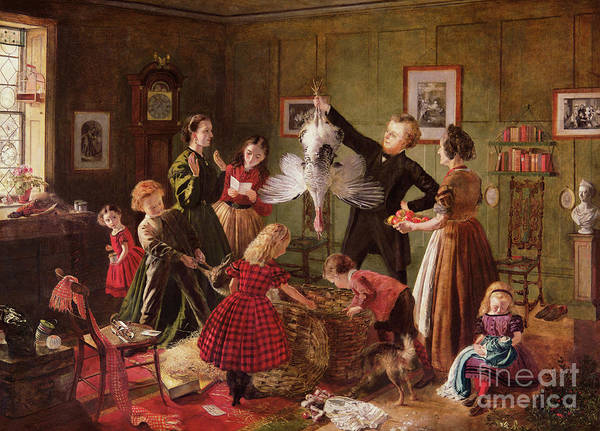 Wall Art - Painting - The Christmas Hamper by Robert Braithwaite Martineau