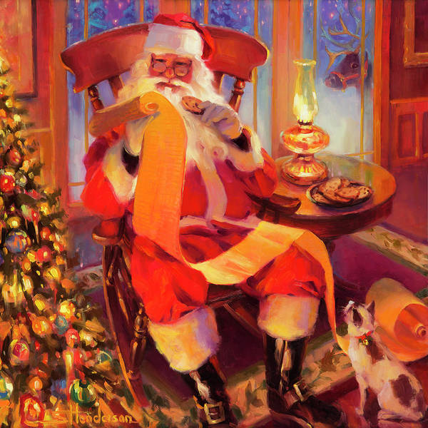 Cookie Wall Art - Painting - The Christmas List by Steve Henderson