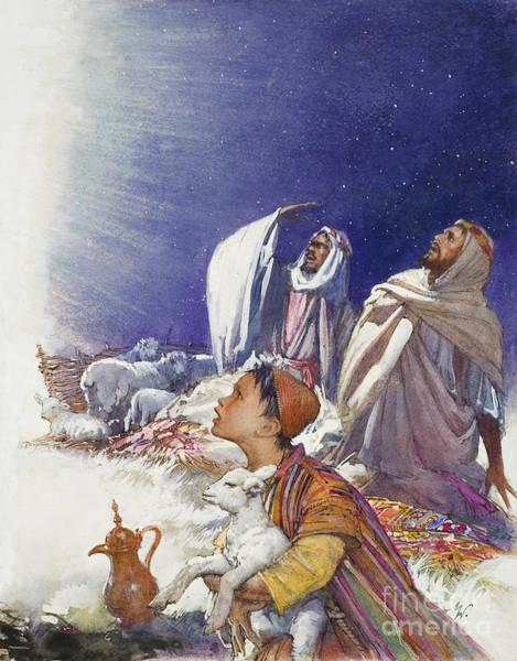 Bethlehem Wall Art - Painting - The Christmas Story The Shepherds' Tale by John Millar Watt