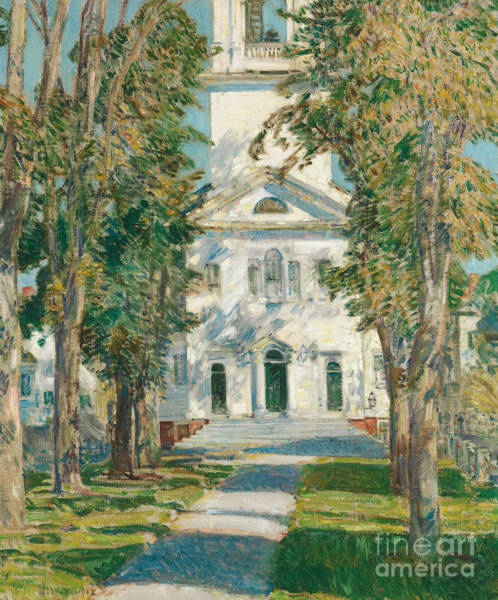 Painting - The Church At Gloucester, 1918 by Childe Hassam