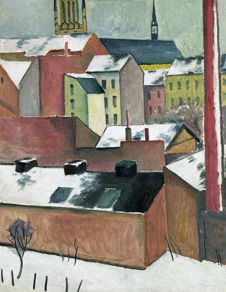 The Blue Rider Wall Art - Painting - The Church Of St Mary In Bonn In Snow by August Macke