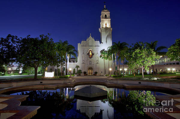 Photograph - The Church Of The Immaculata With Water Reflections At Night by Sam Antonio Photography