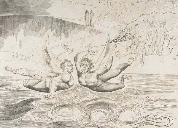 Relief - The Circle Of Corrupt Officials, The Devils Mauling Each Other by William Blake
